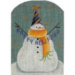 95a New year Snowman  5 x 3.5 18 Mesh Rebecca Wood Designs