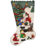 353 Snowman Santa 11 x 19 18 Mesh Rebecca Wood Designs