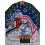 628a 4.25 x 6.25 Snowman Nativity 18 Mesh Rebecca Wood Designs
