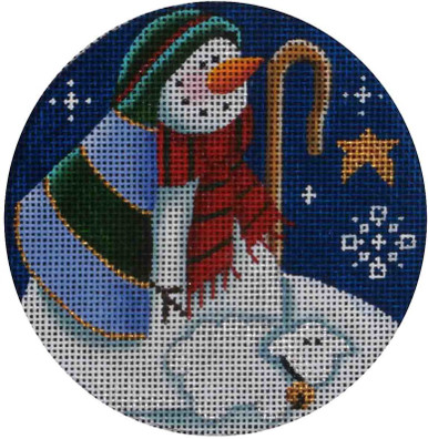 "1024f 4""rnd Snowman shepherd 18 Mesh Rebecca Wood Designs - The NeedleArt  Closet"