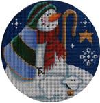 "1024f 4""rnd Snowman shepherd 18 Mesh Rebecca Wood Designs"