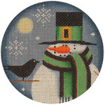 "1017k 4""rnd Nov. Snowman 18 Mesh Rebecca Wood Designs"