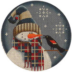 "1017i 4""rnd Sept. Snowman 18 Mesh Rebecca Wood Designs"