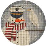 """1017h 4""""rnd Aug. Snowman 18 Mesh Rebecca Wood Designs"""