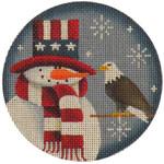 "1017g 4""rnd July Snowman 18 Mesh Rebecca Wood Designs"