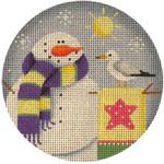 "1017f 4""rnd June Snowman 18 Mesh Rebecca Wood Designs"