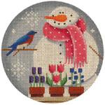 "1017e 4""rnd May Snowman 18 Mesh Rebecca Wood Designs"