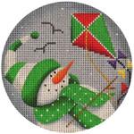 "1017c 4""rnd Mar. Snowman 18 Mesh Rebecca Wood Designs"