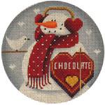 "1017b 4""rnd Feb. Snowman 18 Mesh Rebecca Wood Designs"