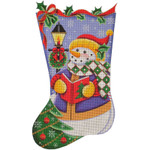 1331f 11/19 Caroler Snowman 18 Mesh Rebecca Wood Designs