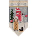 459a Jan. Snowman banner 5.5 x 10.5 18 Mesh Rebecca Wood Designs