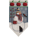 459i Sept Snowman banner 5.5 x 10.5 18 Mesh Rebecca Wood Designs