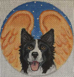 "CHD4 Border Collie Angel 4"" Round Nenah Stone Designs 18 Mesh"