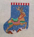 CH181 Reindeer Mini Sock 4.5 x 3.5  Nenah Stone Designs 18 Mesh