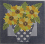 661H NeedleDeeva 6.75 x 6.75 13 Mesh Yellow Flowers