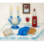 EA128 Challah Cover on Blue Table Alice Peterson 18.5 x 15.5, 13M