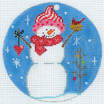 """XO-186a Snowman With Cardinal 5"""" Round 18 Mesh The Meredith Collection"""