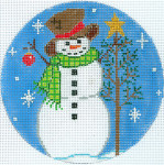 """XO-186c Snowman With A Tree And Ornament  5"""" Round 18 Mesh The Meredith Collection"""
