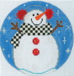 "XO-186d Snowman With Earmuffs  5"" Round 18 Mesh The Meredith Collection"