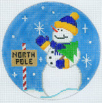 """XO-186e Snowman North Pole  5"""" Round 18 Mesh The Meredith Collection"""