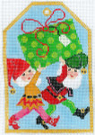 XO-197c Gift Tag Christmas Elves 6 x 4 18 Mesh The Meredith Collection