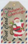 XO-197b Gift Tag Seasons Greeting Santa 6 1/2 x 4 18 Mesh The Meredith Collection