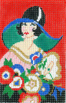 XO-205c Art Deco Lady With Flowers 31/2 x 5 1/2  18 Mesh The Meredith Collection