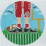 """XO-174t Football Feet Ohio State 5"""" Round 13 Mesh The Meredith Collection"""