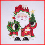 COSAT-01 Santa w/gold staff topped w/gold tree 13 Mesh Mini Stocking w/ added piece for hat Strictly Christmas