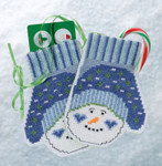 MH191831 Mill Hill Trilogy Ornament Kit Snowman Mittens