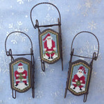 Santa Folk 17 x 31 each - perforated paper Foxwood Crossings Sleds Sold Separately 15-2295  YT
