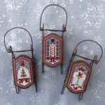 Snow Folk 17 x 31 each - perforated paper Foxwood Crossings Sleds Sold Separately 15-2574 YT