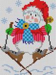 4217 Skiing Snowman 14 Mesh 41⁄4 x 51⁄2 Treglown Designs