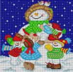 M-161 Snowman Family 13 Mesh 91⁄4x91⁄4 Treglown Designs