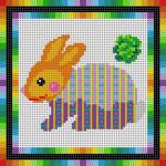 X-130 Colorful Bunny 13 Mesh 61⁄4x61⁄4 Treglown Designs