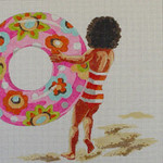 PE112 Girl with Beach Ring 14x14 13 Mesh Colors of Praise