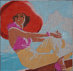 PE103 Lady with Red Hat 9x9  13M Colors of Praise