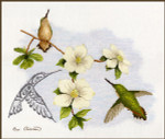 Stitching Studio, The Sue Coleman DOGWOOD & HUMMINGBIRD