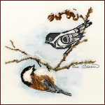 Stitching Studio, The Sue Coleman CHICKADEE includes 1/2 and 3/4 stitches