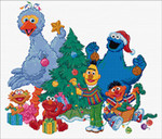GOK761A Thea Gouverneur Kit Sesame Street Christmas Counted Cross Stitch Kit