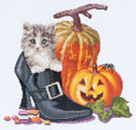 "GOK738A Thea Gouverneur Kit Halloween Kitten 12"" x 12""; Aida; 16ct"