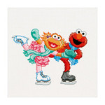 GOK763A Thea Gouverneur Kit Sesame Street Ice Skating Counted Cross Stitch Kit