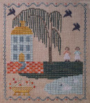 12-1392 Blue House Sampler 90w x 100h Dames of the Needle