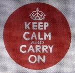 Keep Calm And Carry On Ornament 70397-Unique New Zealand Designs Needlepoint Saying