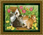 09-1548 Kitties Artwork by Jane Maday. Design size 16 X 12-3/4 Kustom Krafts
