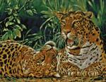 09-1928  Playful Leopards Stitch Count 252 x 196 Kustom Krafts