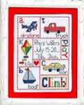 12-1747 Patchwork Baby Boy Stitch Count 100 x 72 Bobbie G Designs