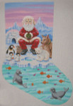"LL153 Labors Of Love Ice Fishing Santa Stocking 13 Mesh 14"" x 24"""
