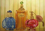 LL150T Labors Of Love Perfume Bottles on Tray 18 Mesh 13.25x9