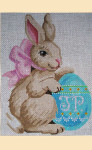 """LL193A Labors Of Love Bunny with Egg on Right 18 Mesh 5"""" x 7"""""""